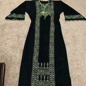 Dresses & Skirts - Palestinian dress thobe Abaya black embroidered